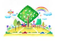 鳥が集まった木と虹と飛行船と丘の家