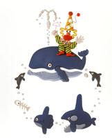 立体 クジラとイルカとマンボウとピエロ