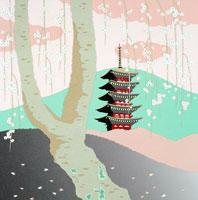 切り絵 4月 枝垂桜と山と五重塔