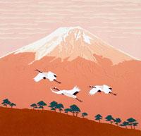 切り絵 1月 朝焼けの富士山と飛翔する鶴