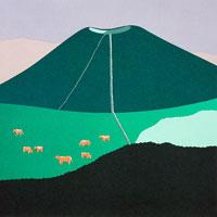 切り絵 夏 熊本県阿蘇山と牛の放牧