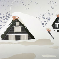 切り絵 白川郷の雪景色