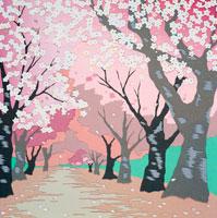 切り絵 4月 桜並木