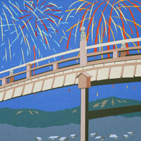 切り絵 夏 木橋と花火 02237007145| 写真素材・ストックフォト・画像・イラスト素材|アマナイメージズ