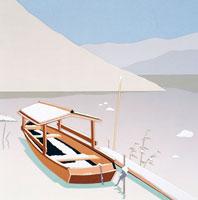 切り絵 冬 雪が積もった桟橋と屋形船