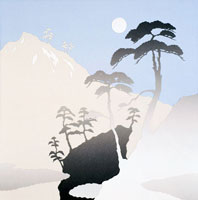 切り絵 冬 日本画風雪と松のシルエット