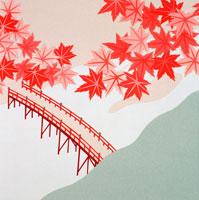 切り絵 秋 上空から見た赤い橋と紅葉 02237007173| 写真素材・ストックフォト・画像・イラスト素材|アマナイメージズ