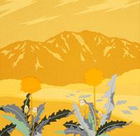 切り絵 春 タンポポと山