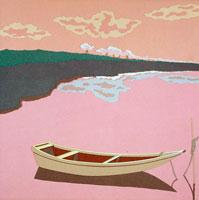 切り絵 桜堤と浮船