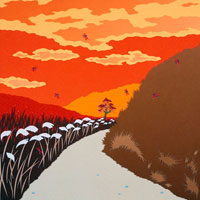 切り絵 秋 夕焼けとススキの道 02237007203| 写真素材・ストックフォト・画像・イラスト素材|アマナイメージズ