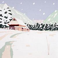 切り絵 雪の降る里山