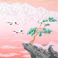切り絵 1,2月 雪山と飛翔する鶴と岩と松