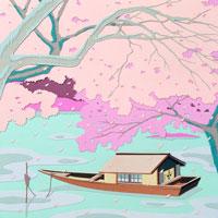 切り絵 桜と屋形船