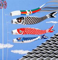 切り絵 5月 屋根の上の鯉のぼり