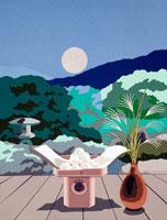 切り絵 お月見 ダンゴと満月