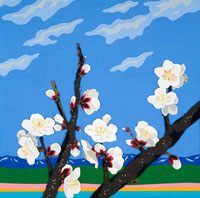 切り絵 梅の里と青い空
