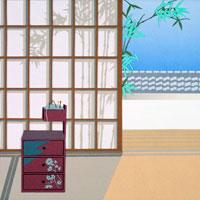 切り絵 座敷に針箱と障子に竹の影