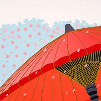 切り絵 野立て傘とサクラ