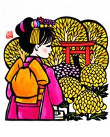 菊と鳥居の前に七五三祝いの和服の少女