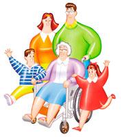 おばあさんを車椅子に乗せて運ぶ家族の絵