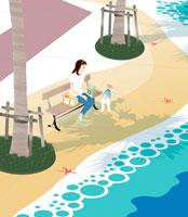 海を模した広場で犬とともに彼を待つ女性