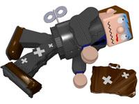 傷ついて倒れているスーツのブリキ玩具 02237007830| 写真素材・ストックフォト・画像・イラスト素材|アマナイメージズ
