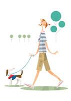 公園で小型犬を連れ散歩する女性一人