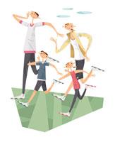 ジョギングする家族4人