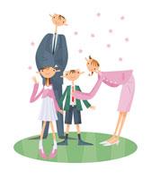 入学式の家族4人桜の花