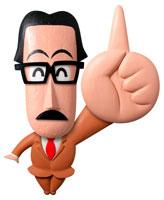立体 眼鏡をかけて人差し指を立てた男性