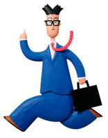 立体 青いスーツ姿で走る男性