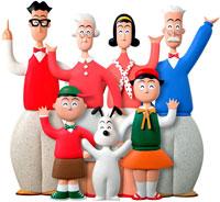 立体 片手を上げた6人家族と犬 02237008360| 写真素材・ストックフォト・画像・イラスト素材|アマナイメージズ