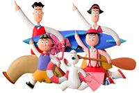 立体 上を指差して走る家族 02237008368| 写真素材・ストックフォト・画像・イラスト素材|アマナイメージズ