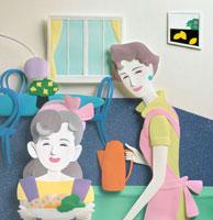 ポットを持つお母さんとピラフを持つ子供 02237008455  写真素材・ストックフォト・画像・イラスト素材 アマナイメージズ