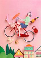赤い自転車に乗った女性と小物