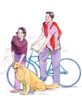 自転車に乗った男性と犬をなでている女性