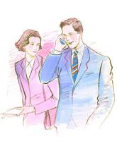 携帯電話と手帳を手に持ったスーツ姿の男女 02237008495| 写真素材・ストックフォト・画像・イラスト素材|アマナイメージズ