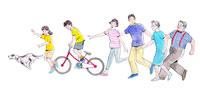 自転車に乗り走っている家族と犬