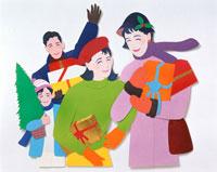 プレゼントやツリーを抱えた家族 02237008544| 写真素材・ストックフォト・画像・イラスト素材|アマナイメージズ