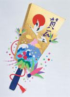 鶴と富士山の描かれた羽子板