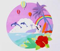 ハイビスカスとイルカとカップルのいる海