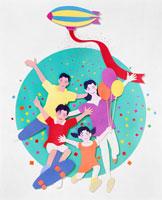 飛行船から降る紙ふぶきの中の家族 02237008577| 写真素材・ストックフォト・画像・イラスト素材|アマナイメージズ