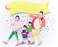 旗と太鼓を持った紙ふぶきの中の家族