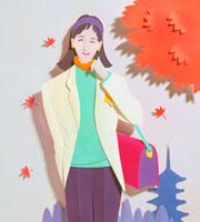 紅葉の下にいる女性と五重塔 02237008623| 写真素材・ストックフォト・画像・イラスト素材|アマナイメージズ
