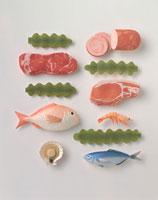 肉、魚介、海草などの食材