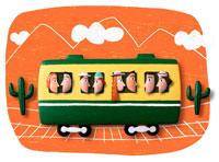電車に乗った人々 立体