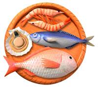 籠の上の魚介類 立体