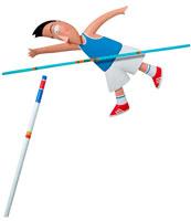 棒高飛びをする男性 立体
