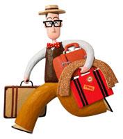 複数の鞄を持つ眼鏡の男性 立体
