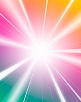 カラフルな放射状の光のイメージ
